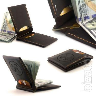 Vintage Money Clip leather with compartments for cards + Gift