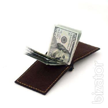 Money clip AS, leather Purse, Wallet, Gamanets + Gift Keychain