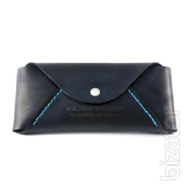 Glasses case made of leather (leather case). Handmade blue