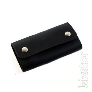 Key case (Leather key ring) genuine leather - black