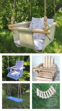 Wooden swing for a child, Derev'yana village, the hoydalkoyu