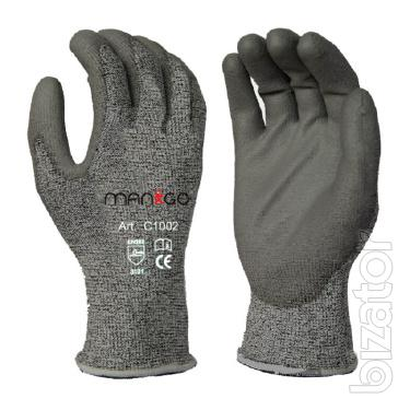 Grey seamless knitted gloves with PU coated