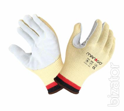 KVL570 aramid gloves with leather coating on palm