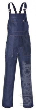 Working denim suit with overalls