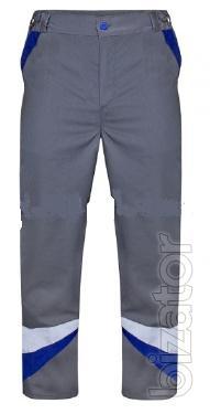 Work pants grey with cornflower trim 3D