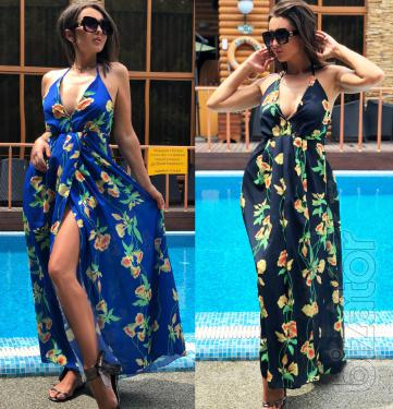 fashion Summer long dress with sweetheart neckline