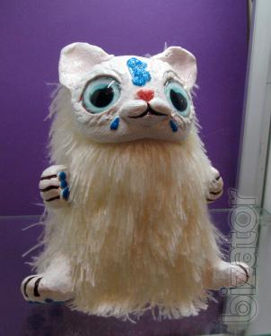 Interior toy White cat from the fairy forest