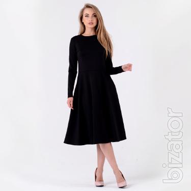 Elegant black dress with long sleeve Santali