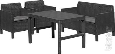 Outdoor furniture Chicago Wicker Set With Table Lyon Allibert rattan, Keter