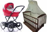Promotion! New! Set: Stroller 2 in 1, crib, mattress, bedding.