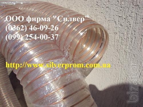 Polyurethane hose D. 102*0.6 mm, flexible reinforced sleeve