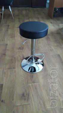 Bar chair Pina, high, chrome faux leather black, white