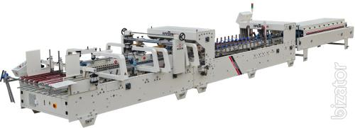 Sell folding-gluing line S1250 reinforced 3 point of gluing with options work on the corrugated Board (China, demo model)