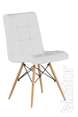 Conference chair Oscar, wooden legs, white black
