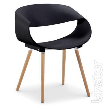 Chair Burt plastic, wooden legs, beech,