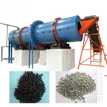 Equipment of organic fertilizer from manure of cattle, small ruminants, poultry litter, food waste, dirt, sawdust. Line of granulation of organic fertilizer