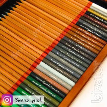 The Renoir colored pencils Marco Fine Art 72 colors in a wooden pencil case (3120-72WB)