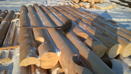 Оцилиндрованное бревно из Ангарской сосны и Сибирской лиственницы (Сибирь г.Братск)