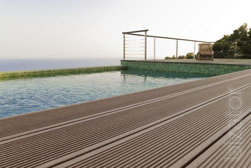 Terraces for pools from composite wood