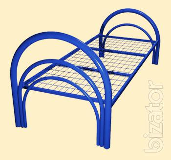 Metal beds from the manufacturer in bulk, beds for workers, builders, wooden headboards for pension, about