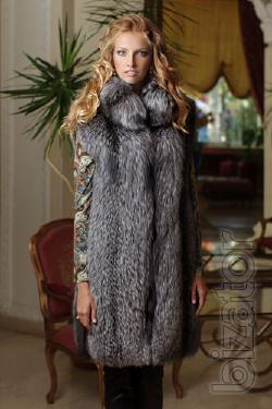 Vest vest made of solid silver (perforation). Stand-up collar ustinow. Product length from shoulder 95 see