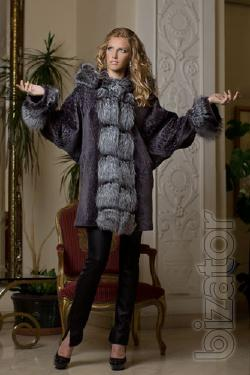 Coat of Mouton and silver bat. Product length from shoulder 85 see