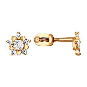 Серьги из золота с фианитами от Sokolov 24036
