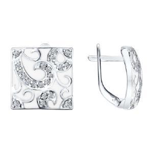 Серьги из серебра с фианитами и эмалью от Sokolov 94021059