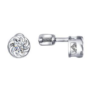 Серьги из серебра с фианитами от Sokolov 94021409