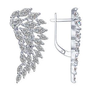Серьги из серебра с фианитами от Sokolov 94022194