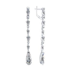 Серьги из серебра с фианитами от Sokolov 94022211