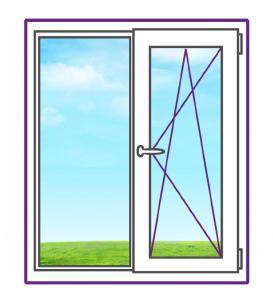 Двухстворчатое металлопластиковое окно с одной поворотно-откидной створкой
