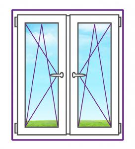 Двухстворчатое металлопластиковое окно с двумя поворотно-откидными створками