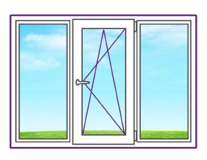 Трехстворчатое металлопластиковое окно с одной поворотно-откидной створкой