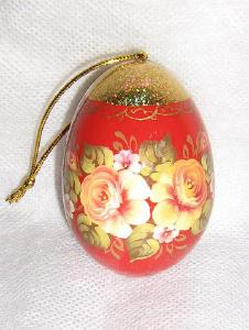 Сувениры и украшения из дерева с ручной росписью и лаком - Пасхальное яйцо на ле