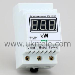 Измерителные приборы - Ваттметр переменного тока, цифровой, корпус на DIN-рейку