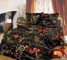 Постельное бельё - Комплект постельного белья 1,5 спальный бязь цветная пл.100-1