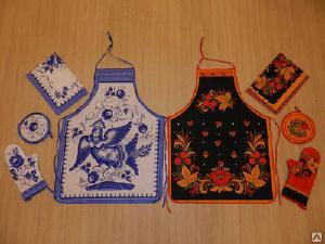 домашние товары - Набор кухонный лен 4 пр.: фартук, прихватка, рукавичка, полоте