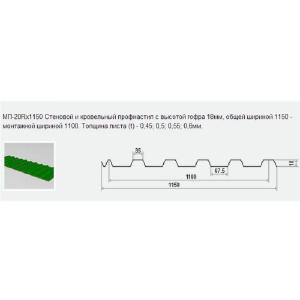Металлические изделия - Стеновой и кровельный профнастил МП-20Rx1150