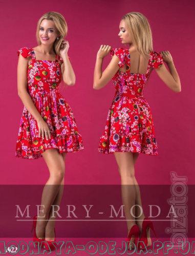 Платье короткое - Короткий сарафан с изображением цветов