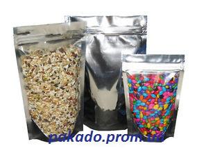 Готовые металлизированные пакеты дой-пак (разноцветные) с  замком  zip-lock  Пак